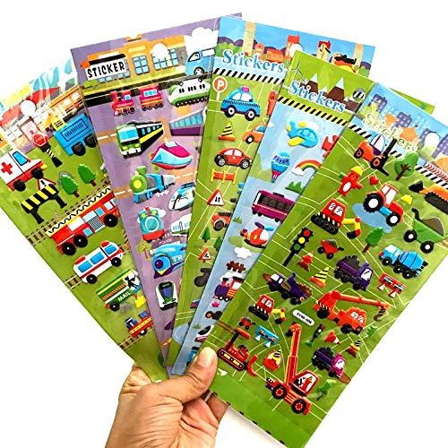 PMSMT 6 Hojas de tráfico de Dibujos Animados Pegatinas 3D Trenes Coches Aviones para niños educación Infantil Pegatina de Juguete para niño niña Pegatina para niños