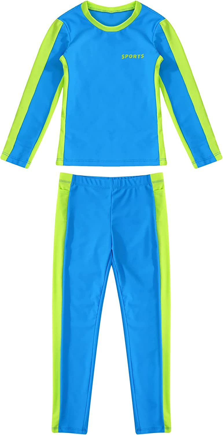 TTAO Unisex Kids Girls Boys Two Piece Swimsuits Long Sleeves T Shirts Top and Full Length Athletic Leggings Suit