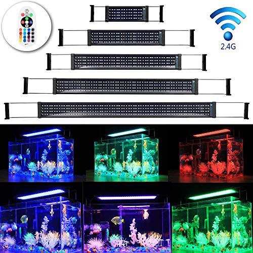 DOCEAN LED Aquarium Beleuchtung, SMD 5050 112LEDs Aquarium LED Lampe, RGB Aquarien Leuchte LED Licht Aufsetzleuchte für Süßwasser-Aquarien, Einstellbare Länge für 50-72CM Fisch Tank
