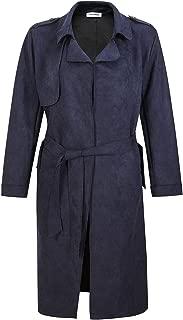 Women's Lapel Trench Coat, Longline Raincoat Pea Coat with Belt