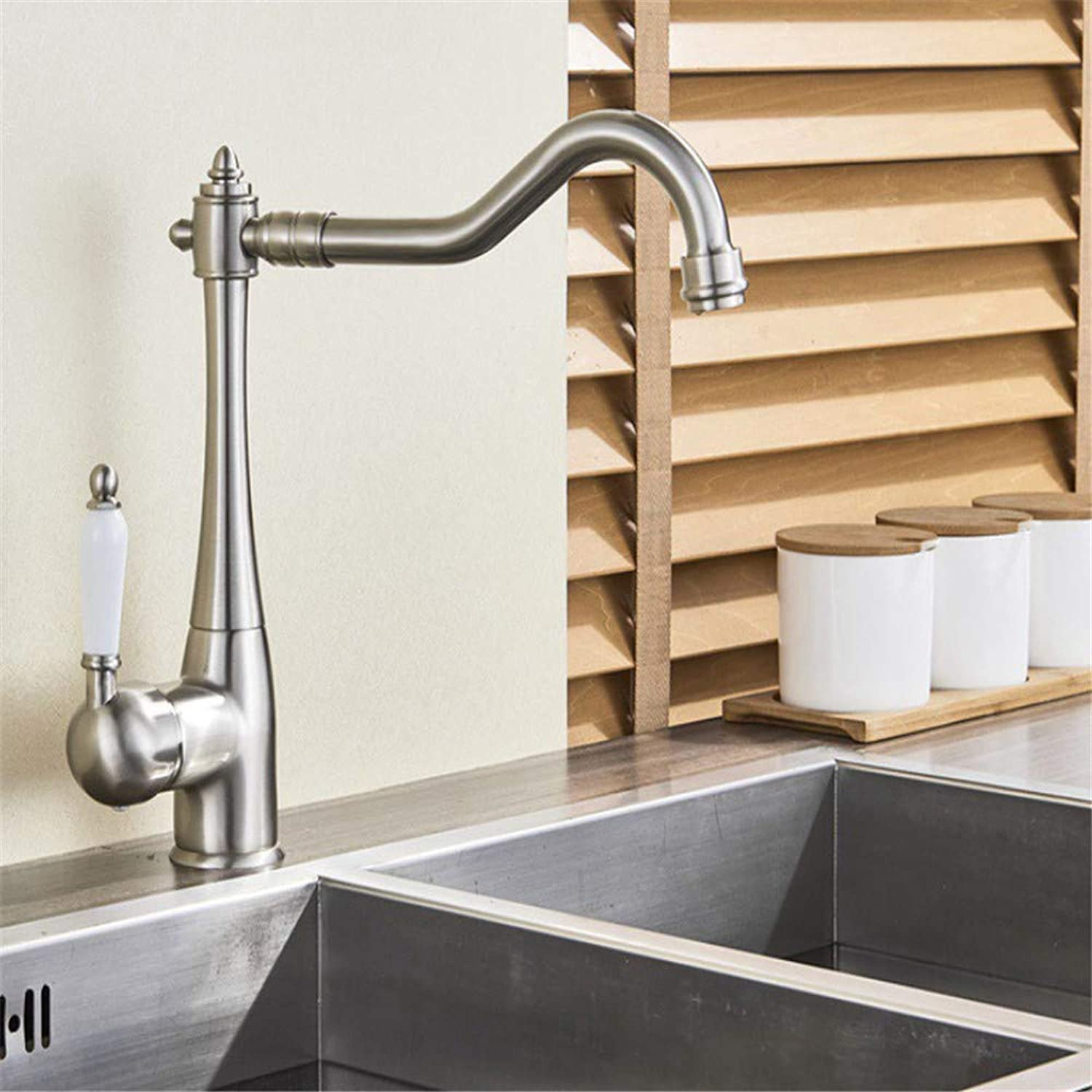 Sink Chrome-Plated Brass Faucet Brushed Nickle Finished Kitchen Faucets Single Lever Mixer Tap Deck Mounted Single Handle Single Hole