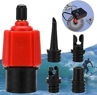 Inflatable SUP Pump Adaptor Compressor Air Valve Converter, Multifunction SUP Valve Adapter with 4 Air Valve Nozzlesz, Air Valve Adaptor for Inflatable Boat, Stand Up Paddle Board, Inflatable Bed