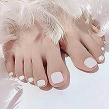Sethexy Solid Color Matte False Toe Nails Fashion Press on ToeNails Square Short Full Cover 24PCS Fake Toenails for Women and Girls (White)
