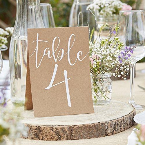 Tischnummern Karten 'Rustic Country' Nr. 1-12 Vintage Hochzeit Tischdeko