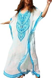 Bsubseach Women Bathing Suit Cover Up Ethnic Print Kaftan Beach Maxi Dresses