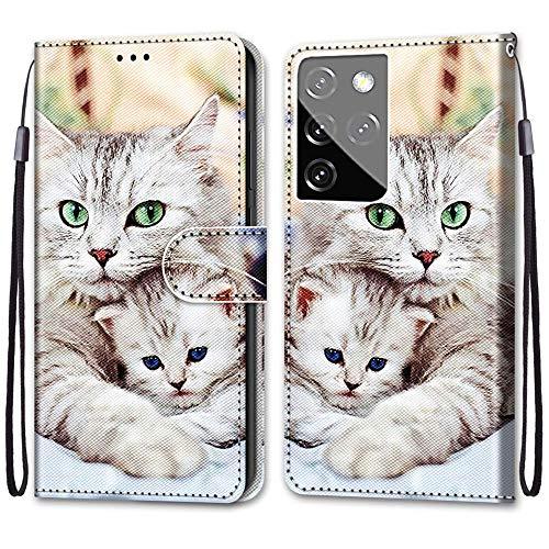 Nadoli Handyhülle Leder für Samsung Galaxy S30 Ultra,Bunt Bemalt Niedlich Katze Trageschlaufe Kartenfach Magnet Ständer Schutzhülle Brieftasche Ledertasche Tasche Etui
