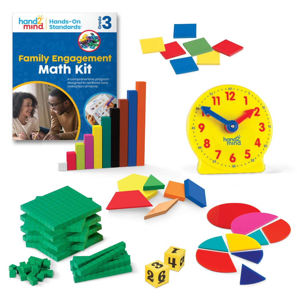 hand2mind - 93533 Hands-On Standards, Learning at Home Family Engagement Kit for Grade 3, Math Activity Book with Math Manipulatives, Spanish Translations for Key Materials