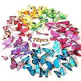 KANOSON Farfalle Decorative Adesivi Murali 3d, 72 Pezzi Adesivi Magnetici Farfalle da Parete, PVC Adesivi Murali Farfalle 3d per la Adesivi per Frigorifero Casa Fai Da Te, Decorazioni Casa