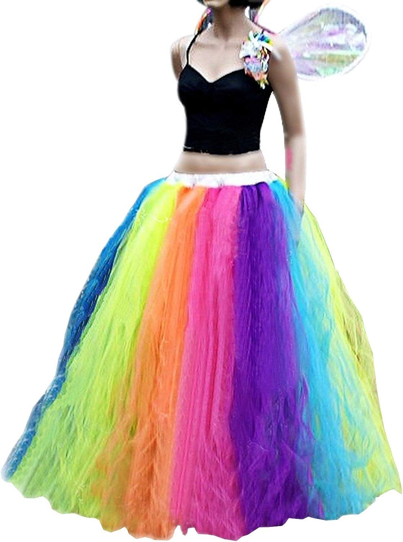 CoutureBridal Women Long Tutu Rainbow Tulle Skirts Performance Fluffy