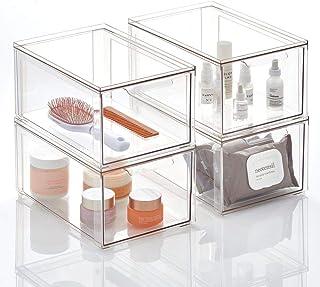 mDesign Plastikowy pojemnik do przechowywania – Schowek z pokrywką na zawiasach – Organizer łazienkowy na przybory toaleto...