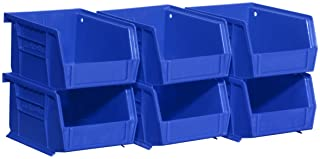 Akro-Mils 08212BLUE 30210 AkroBins Plastic Storage Bin Hanging Stacking Containers, (5-Inch x 4-Inch x 3-Inch), Blue, (6-Pack)