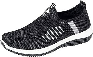 Hurrybuy Women's Comfortable Walking Shoes - Lightweight Mesh Slip On Athletic Sneakers Black