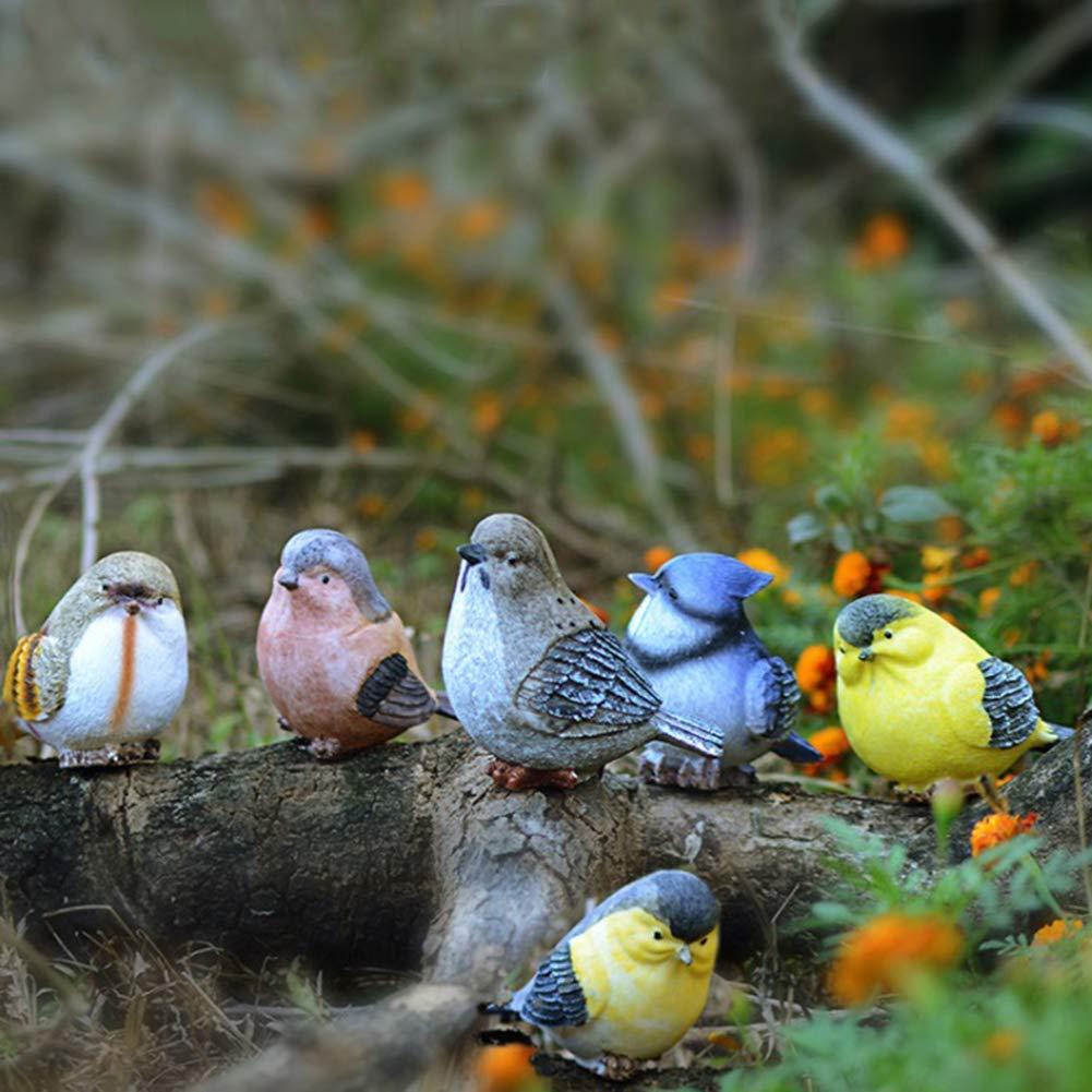 DAMING - Juego de 2 Figuras Decorativas de pájaros y Jardines, de Resina, para Interiores y Exteriores: Amazon.es: Jardín