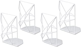 SRIWATANA Book Ends White, Decorative Metal Bookends for Shelves, Unique Geometric..