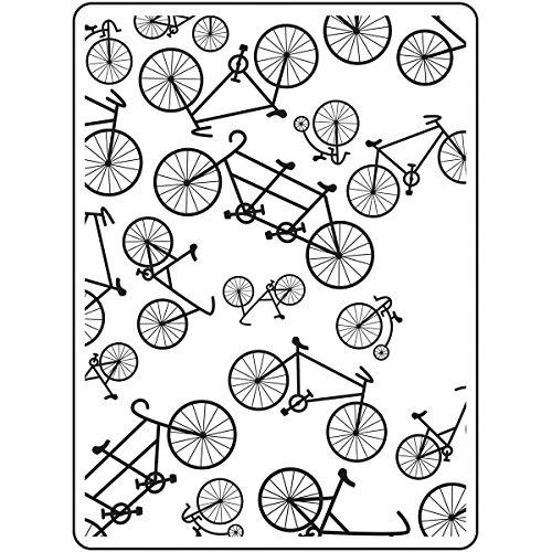 Darice Embossing Folder Prägefolder-Schablone, Fahrrad-Bicycle-10,8 x 14,6 cm, Plastic, transparent, 10.8 x 14.6 x 0.11 cm