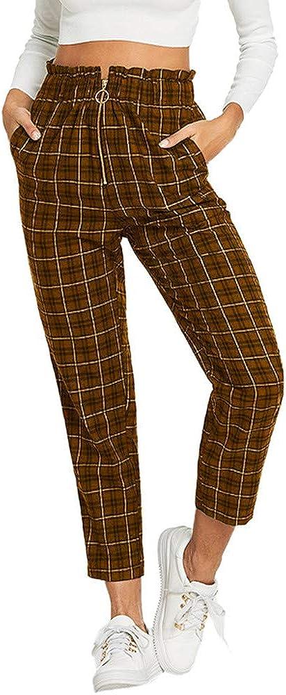 ZEFOTIM Clearance Womens Elastic Waist Casual Pants Single Breasted Frill Trim Plaid Pants