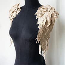 RongWang 2 STUKS Kaki Borduurwerk Angel Wing Applique Naaien Bloem Kraag Patch voor Wedding Party Gown Bridal Dress Kledin...