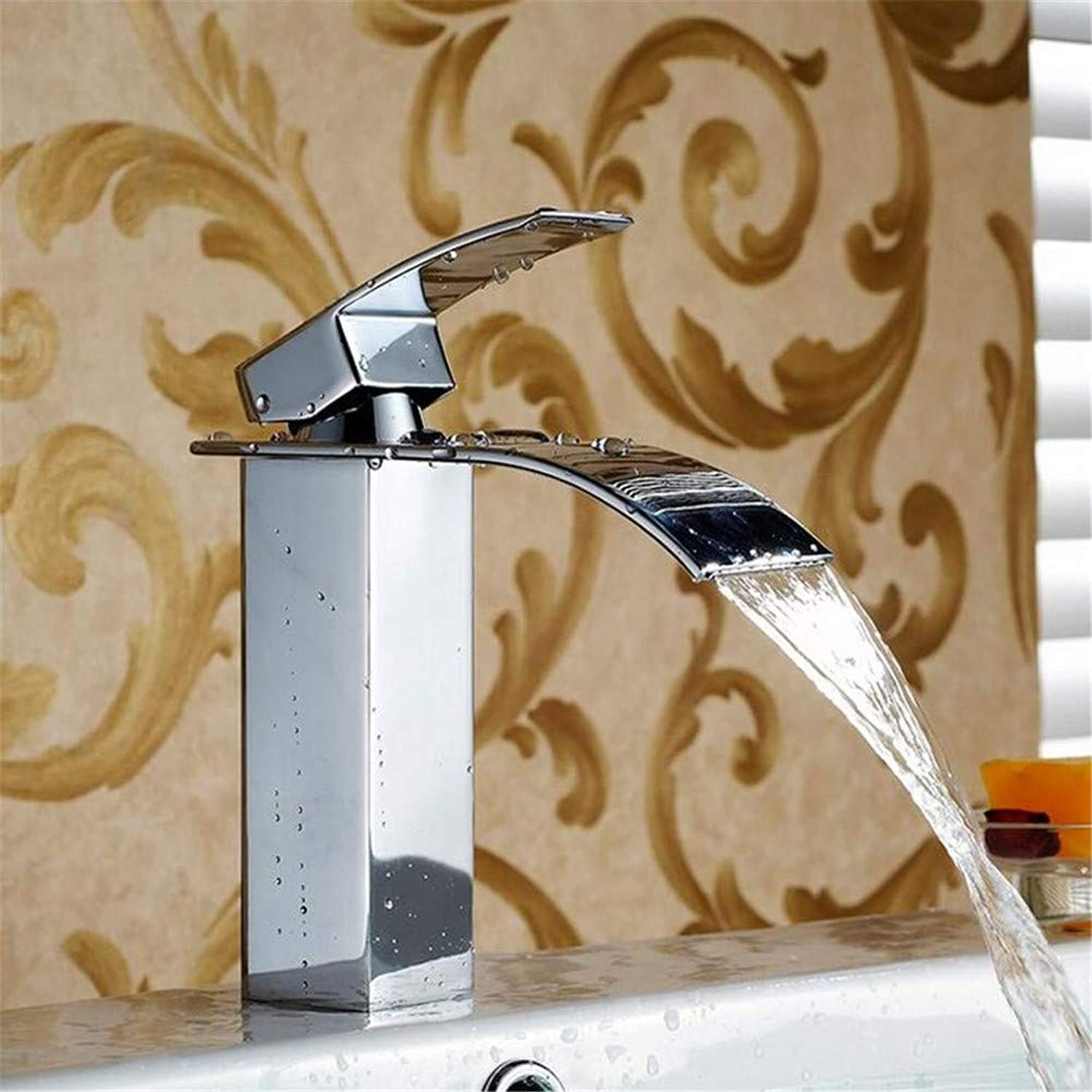 Brass Chrome Hot and Cold Water New Polished Basin Sink Waterfall Tap Single Lever Single Hole Deck Mounted Basin Waterfall Faucet