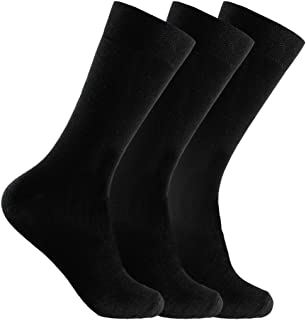 Mens 12 Pair Pack Non-Elastic Black Design Soft Cotton Diabetic Gentle Socks