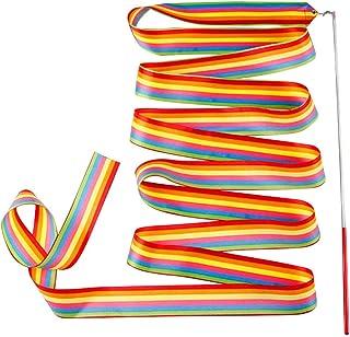 Bascar - Fascia da ginnastica con asta, per bambini, ballo artistico per ginnastica ritmica, danza, palestra, asta, lunghe...