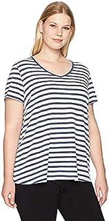 CALVIN KLEIN Performance Women's Plus Size Distress Wash Be Bold Stripe Pleat Back Tee