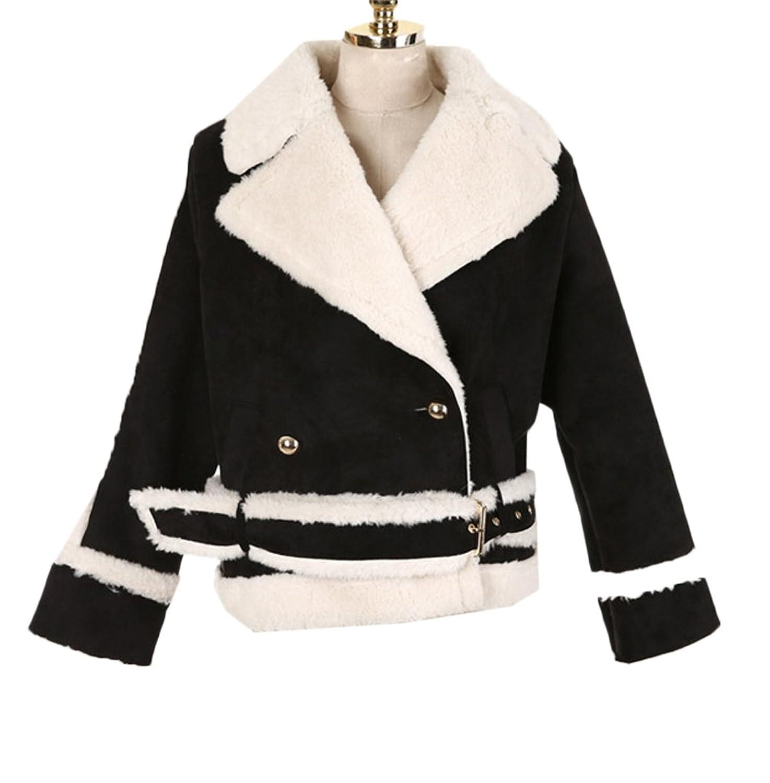 [美しいです] レディース コート トレンチコート ファー スエード 防寒 防風 ショット丈 カジュアル 保温性 軽量 ゆったり 冬服  ムートンコート