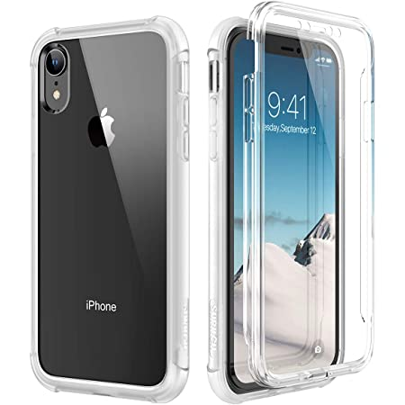 SURITCH Case for iPhone XR, [Built-in Screen Protector] Clear Full-Body Protection Shockproof Rugged Bumper Protective Cover Compatible with iPhone XR 6.1 Inch (Clear)
