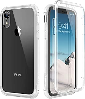 SURITCH Case for iPhone XR, [Built-in Screen Protector] Clear Full-Body Protection Shockproof Rugged Bumper Protective Cover Compatible with Apple iPhone XR 6.1 Inch (Clear)