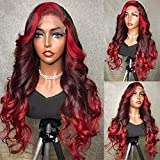 YMS Human Hair Wigs for Black Women 150% Density Ombre Red Transparent Lace Front Wigs Human Hair Pre Plucked 100% Unprocessed Human Hair Wigs(20 inch,13x4 Lace Front Wig)