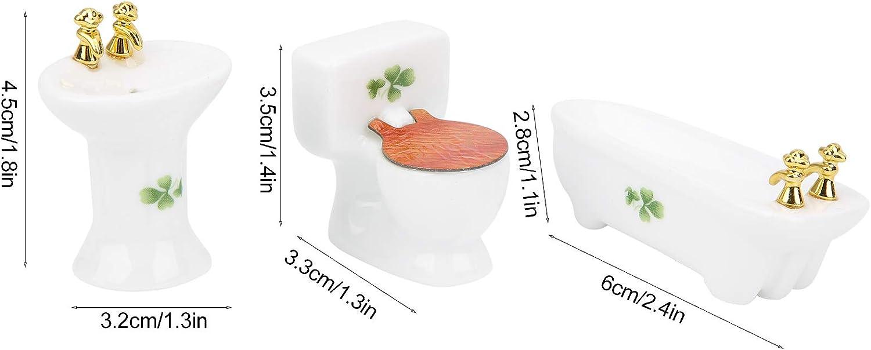 3pcs Miniature Simulated Bathroom Set Ceramic Bathtub Toilet Sink Kit for Doll House Toy Home Decoration Scene Shooting Rose 1:24 Miniature Doll Furniture