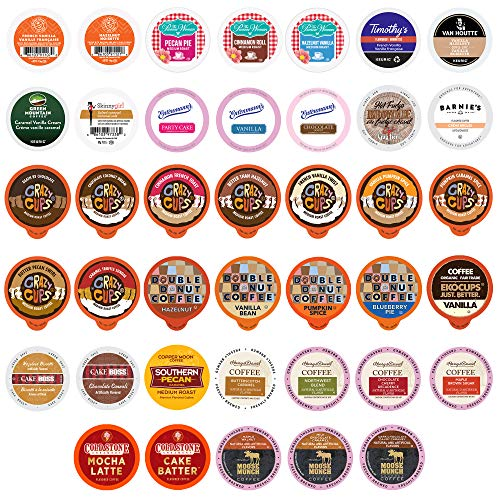 Flavored Coffee Pod Variety Pack - 40 Unique Flavors of Chocolate, Vanilla, Caramel, and More from Top Coffee Brands - Compatible with Keurig K Cups Brewers, 40 Coffee Capsules - No Duplicates