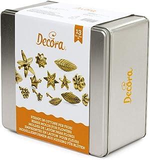 Decora 0821010 Set de 13 Empreintes en Laiton pour Fleurs Magyfleur, Métal, Or, 12 x 12 x 3 cm