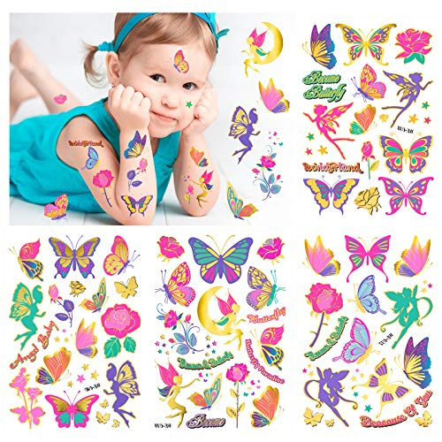 Konsait Tattoo Kinder, Glitzer Fee Schmetterling Temporäre Tattoos Set Kinder, Schmetterling Kindertattoos Aufkleber für Mädchen Kindergeburtstag Mitgebsel Party Kinder Spielen oder Geschenkidee
