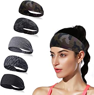 DINIGOFIN Wide Sports Headbands for Women Non Slip Workout Headband Moisture Wicking Sweatband for Yoga Running Athletic Fitness