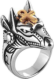 HZMAN Men's Egyptian God Anubis Gold Ankh Cross Ring Stainless Steel Biker Band