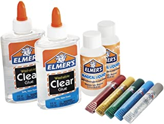 Elmer's Slime Starter Kit可水洗半透明颜色胶水, Clear School Glue, Glitter Glue Pens & Magical Liquid Activator Solution, 9 Count