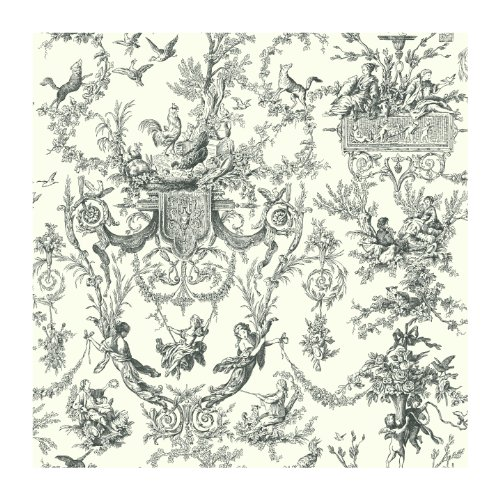 York Wallcoverings AT4237 Ashford Toiles Old World Toile Prepasted Wallpaper, White/Black