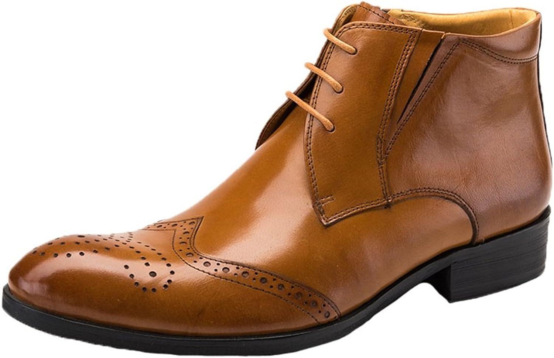 Santimon Mens Dress Boots Leather Brogue Classic Twotone Lace up Ankle shoes