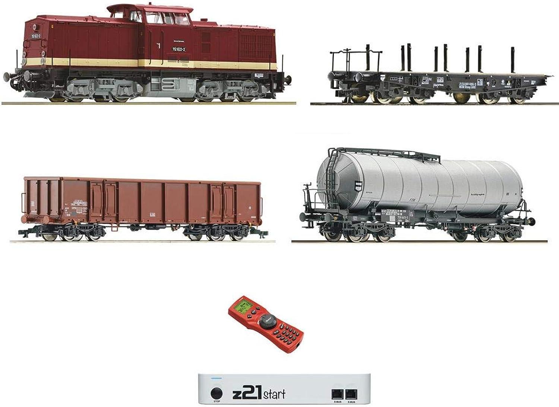 Roco 35021 Digital-Startset mit Diesellokomotive BR 112 DR und Güterwagen DR - DC Digital
