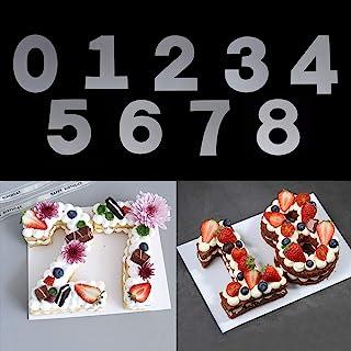 قوالب ستينسل بلاستيك مسطحة لتزيين الكيك بارقام 0-8 من رايناج، قوالب ستينسل رقمية 10 انش لصنع الارقام يدويًا للكيك والكعك
