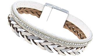 "Rosemarie & Jubalee Women's Braided Vegan Leather Magnetic Clasp Bracelet, 7.5"""