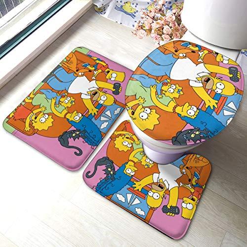 HAOHAODE - Juego de 3 alfombrillas de baño con diseño de dibujos animados de anime Simpsons (3 piezas), alfombrilla de baño suave antideslizante + almohadillas de contorno + cubierta de tapa de inodoro, alfombra absorbente de baño y alfombrilla antideslizante