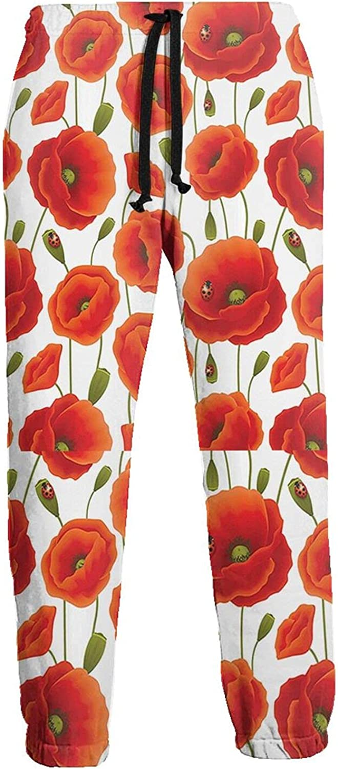 KAWAHATA Floral Flowers Pattern Men's Pants with Pockets Tapered Athletic Sweatpants 3D Casual Active Sports Pants