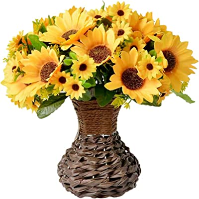 Vase with Fall Artificial Flowers Arrangement,Fake Silk Sunflower in Handmade Vase for Home, Kitchen or Office Decoration (Yellow Sunflower)