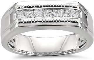 La4ve Diamonds 14k White Gold Princess-Cut Diamond Men's Milgrain Vintage Wedding Band Ring (1/2 cttw, I-J, SI2-I1)
