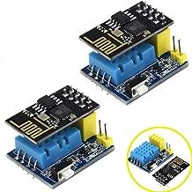 DAOKI 2Pack ESP8266 DHT11 ESP-01 ESP-01S Temperature and Humidity Sensor WiFi Module Wireless NodeMCU Smart Home IOT DIY Kit Blue