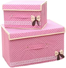 2PCS Laundry Basket Bags Clothes Hamper Storage Foldable Toy Covered Bowknot Organizer Bag-Pink