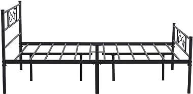 EGOONM Cadre de lit en métal - 4ft 6 Cadre de lit en métal avec Les Nuages Motif, avec Grand Espace de Rangement et pour Adul