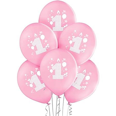 ocballoons 20 Palloncini 1° Primo Compleanno Rosa Biodegradabili Made in Italy Bimba Bambina Addobbi e Decorazioni per Feste Party Gonfiabili con Bombola Elio