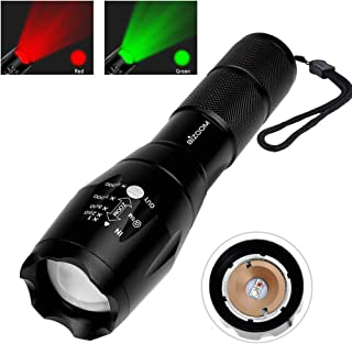 Bizoom Portable Handheld LED Flashlight Red Green light 2 in 1 Adjustable Focus Zoomable Hunting Torch KL15,Astronomy Observation,Night Vision,Fishing,Hunting,Detection.Outdoor Water Resistant